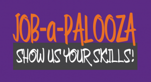 Job-a-Palooza Logo on purple background.