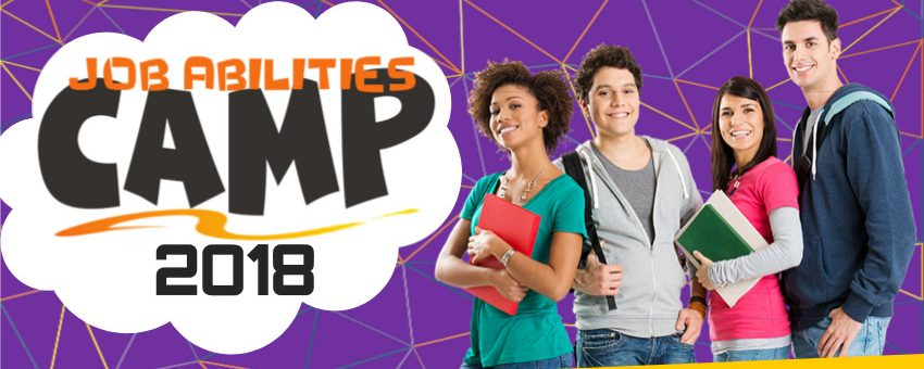 Job Abilities Camp logo to the left. On the right is a group of teenagers or young adults smiling, two girls and two boys. Both girls are holding folders in their hands. The boys have bags on their backs. The background is purple with colorful triangular lines.